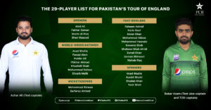 Pakistan Cricket Board Announces 29-Man Squad for Tour to England